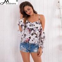 Avodovama M New Fashion Women Chiffon Blouses Printed Long Sleeve Backless Sexy Off Shoulder Shirts