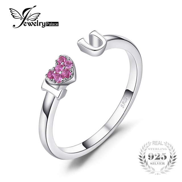 Ruby Heart Stackable Silver Crossover Ring TWksdVmwCq