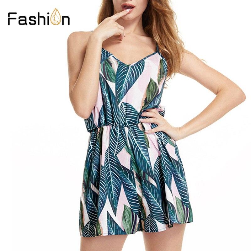 Rompers Women Summer Jumpsuit Leaves Print Playsuit Clothes Overalls Jumsuits Casual Bodysuit Lady Beach Body Romper Plus Size