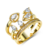 New Women Rings 18k Gold And Rhodium Plated With White CZ Ring Fashion Jewelry Free Shipment