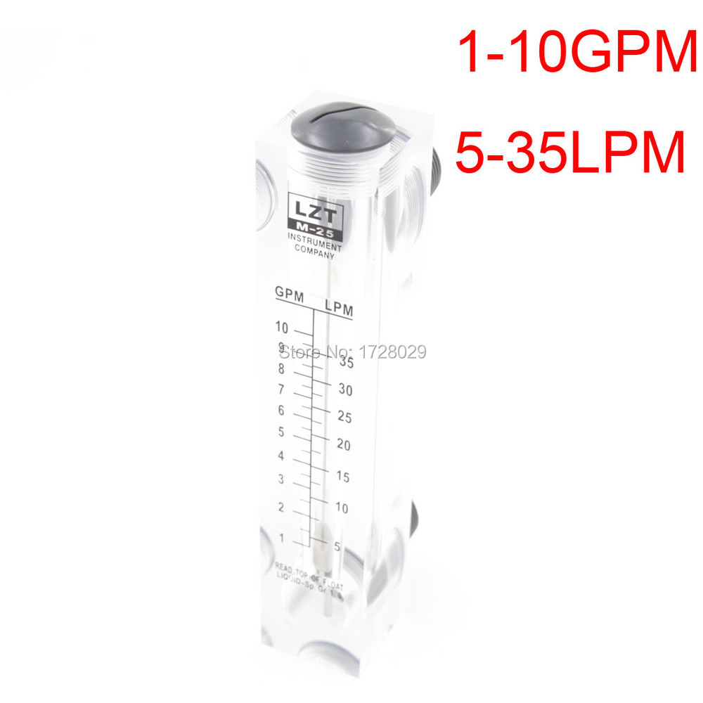 Panel Water Flow Meter Liquid Rotameter Flowmeter 5-35LPM 1-10GPM lzb 15 glass rotameter rotor flowmeter for gas