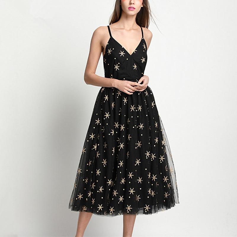 Видеть оранжевый Вышивка звезды Винтаж черный летнее платье Для женщин рукавов Спагетти ремень взлетно посадочной полосы Платья для вечер