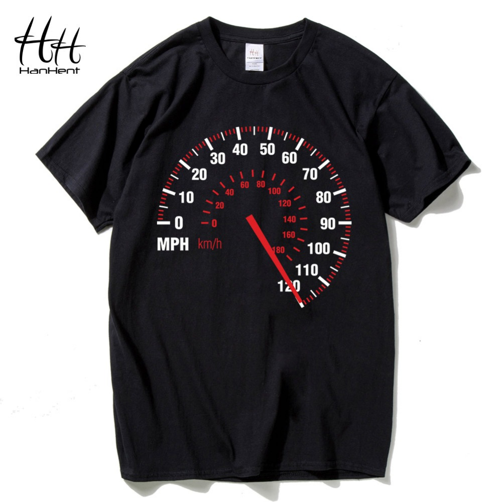 HanHent Speedometer Fashion Men   T     shirt   Motorcycle Cotton Summer Car Speed   T  -  shirt   Punk Rock Black Tshirt for Man's Fitness
