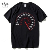 HanHent Speedometer Fashion T Shirt Men Custom Pattern Man Cotton Fashion Car Speed Dial Print T