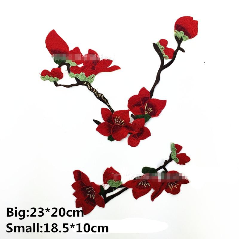 4pcs Magnolia Flower Embroidery Trim Clothes Sewing Applique Patches Blue