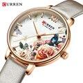 CURREN очаровательные часы с цветочным дизайном  женские модные повседневные кожаные Наручные часы  женские часы  женские кварцевые часы