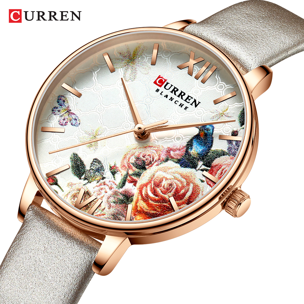 CURREN Beautiful Flower Design Watches Women Fashion Casual Leather Wristwatch Ladies Watch Female Clock Women's Quartz Watch