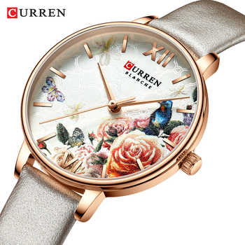 CURREN Beautiful Flower Design Watches Women Fashion Casual Leather Wristwatch Ladies Watch Female Clock Women's Quartz Watch - DISCOUNT ITEM  50% OFF All Category