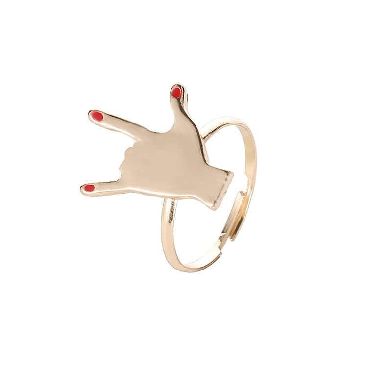 خطة مجوهرات إبداعية جديدة شخصية الموضة طلاء الأظافر الأحمر البنصر المشترك