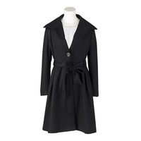 Candowดูฤดูใบไม้ร่วงฤดูหนาวสหรัฐอเมริกาขนาดFemininosสีดำแขนยาวผู้หญิงเสื้อคลุมบางสง่างามทำด้วยผ...