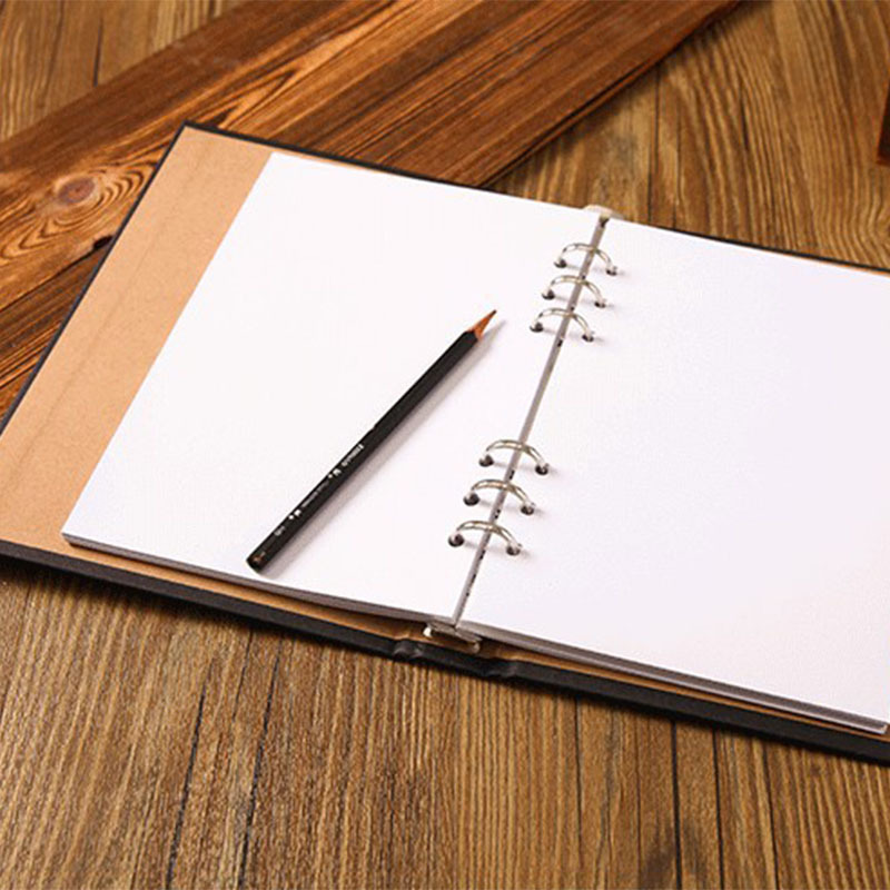 A5 Blank Spiral Notebook paper 80 sheets Sketchbook Diary Drawing Graffiti writing Kraft Sketch book Office School Supplies notebook a4 inside page spiral 60 sheets 3 hole filler paper blank and line kraft paper office and school supplies writing pads