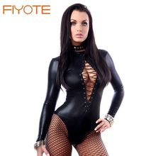 FIYOTE Black Wet Look Long Sleeve Bodysuit  LC3263 Women Black Leather Lingerie Bodysuits Erotic Latex Catsuit Catwomen Costume