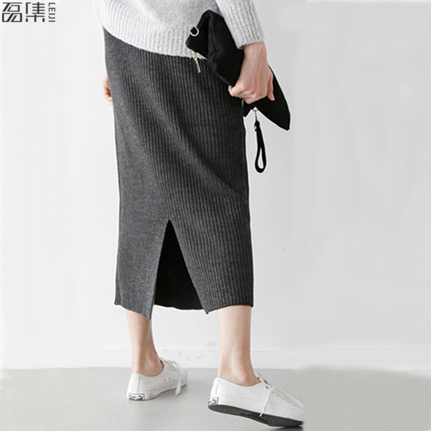 Women Skirts Elastic  Autumn Winter Warm Knitted Straight Skirt   Plus  Size  Mid-Long Skirt Black