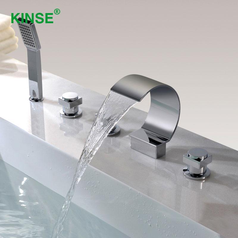 KINSE Brass Material Chrome Finish Five Piece Bathtub Faucet Big ...