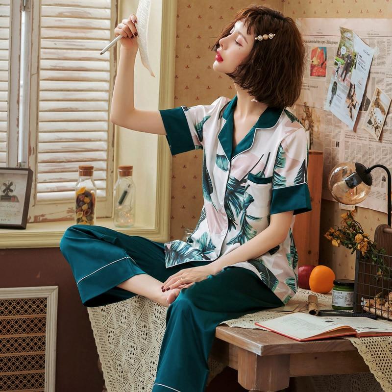 Fashion Women Wear Clothes 2019 Summer Autumn Short Sleeved Silk Women   Pajamas     Set   Loose Women Long Pant Sleepwear   Sets   Satin