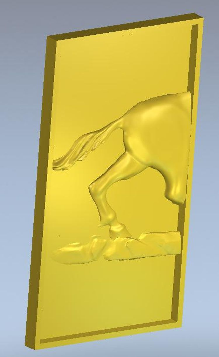 relief 3d model triptych_horse  for cnc in STL file 3d model relief for cnc in stl file format animals and birds 2