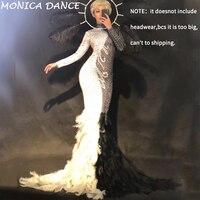 Nightclub Female Singer Show Clothes Women Birthday Dress Glisten Rhinestones Feather Black White Long Dress Evening Party Dress