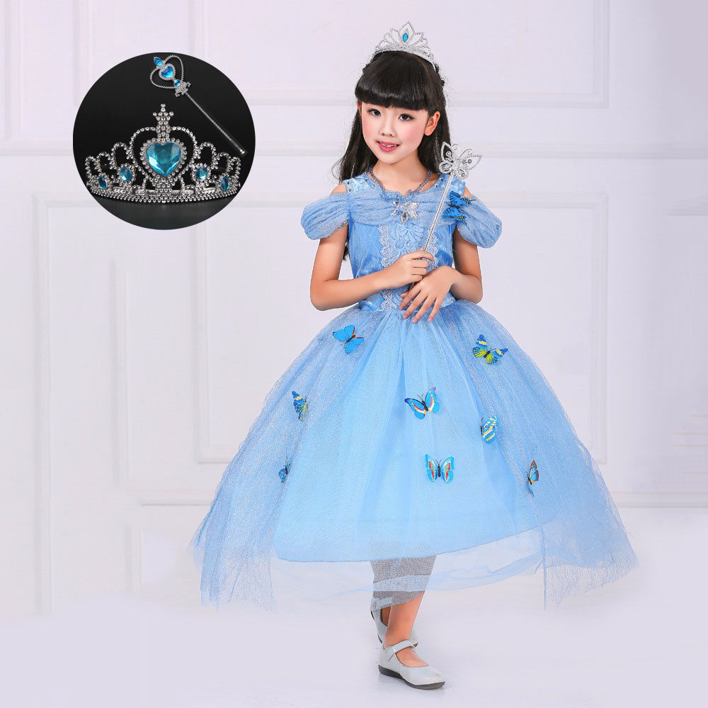 Blue Kids Sleeveless Party Gowns for Girls Princess Cinderella ...
