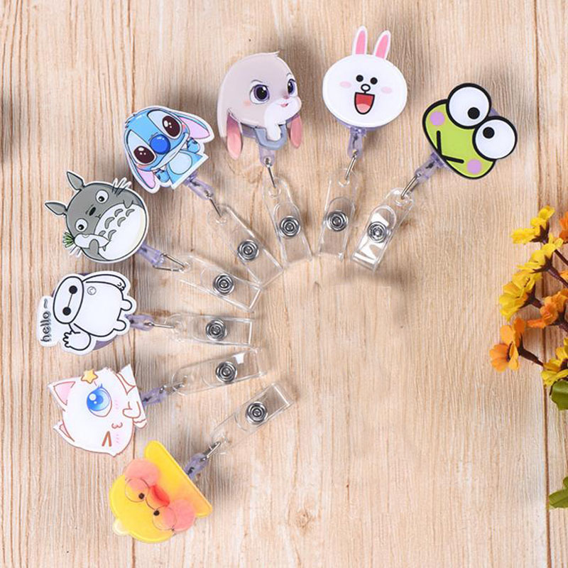 1 Pcs Cute Totoro Stitch Baymax Duck Bear Animal Retractable Badge Reel Exhibition ID Card Clips Badge Holder Stationery