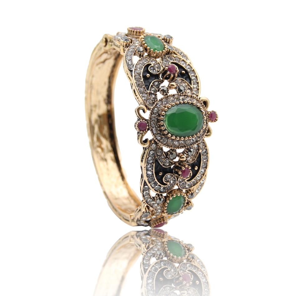 Nyankomne Kvinder Blomst Tyrkisk Armbånd & Armbånd Retro Guldfarve Harpiks Vintage Armbånd Mansjett Arabiske smykker Pulseiras Feminino