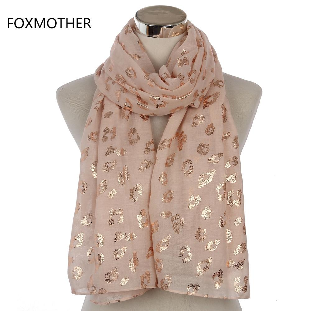 FOXMOTHER-bufanda larga para mujer, FOXMOTHER, bufanda larga de leopardo dorado, Rosa marino, rosa metalizado, chal de envoltura de noche, regalos para mujer 2019