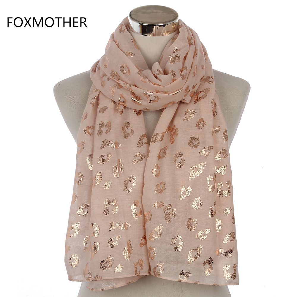 FOXMOTHER 2019 New Ladies Fashionable Navy Pink Metallic Foil Rose Gold Leopard Long Scarf Evening Wrap Shawl Women Gifts