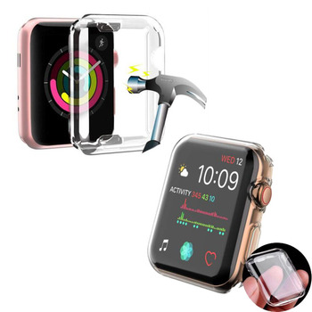 Transparent TPU Soft Protective Case Shell Frame For Apple Watch Series 1/2/3/4 38mm 42mm 40mm 44mm Full Screen Pretector Cover фото