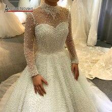 2019 vestido de casamento cheio pérolas luxo princesa vestido de casamento trabalho real 100% alta qualidade