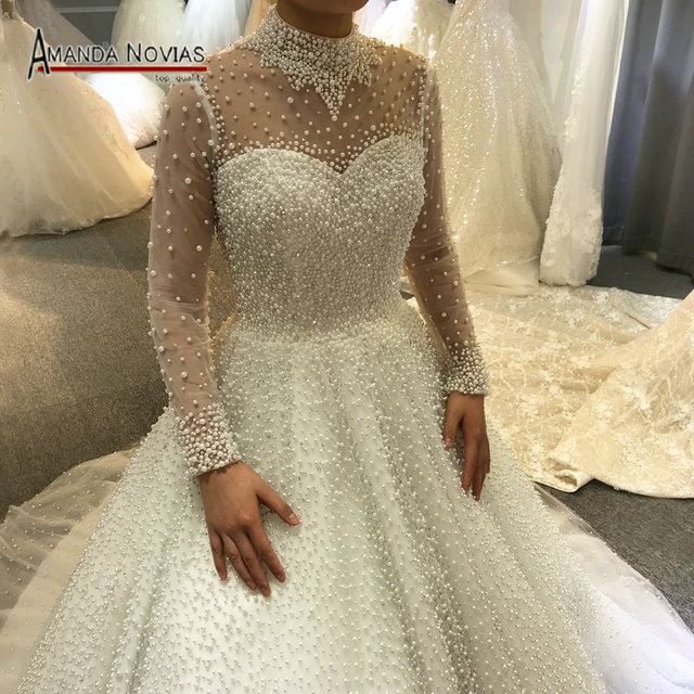 2019 vestito da cerimonia nuziale pieno di perle di lusso della principessa abito da sposa reale di lavoro 100% di alta qualità
