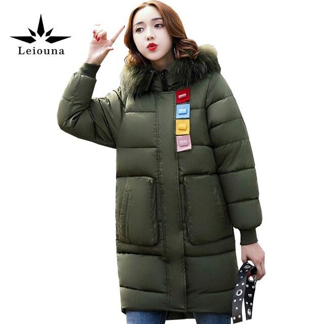 Dames Lange Winterjas Met Bontkraag.Leiouna 2017 Nieuwe Katoen Mode Grote Maat 3xl Hooded Bont Warm