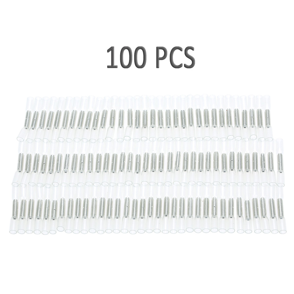 100pcs 26 24 awg car insulated heat shrink butting connector waterproof sleeving wire electrical