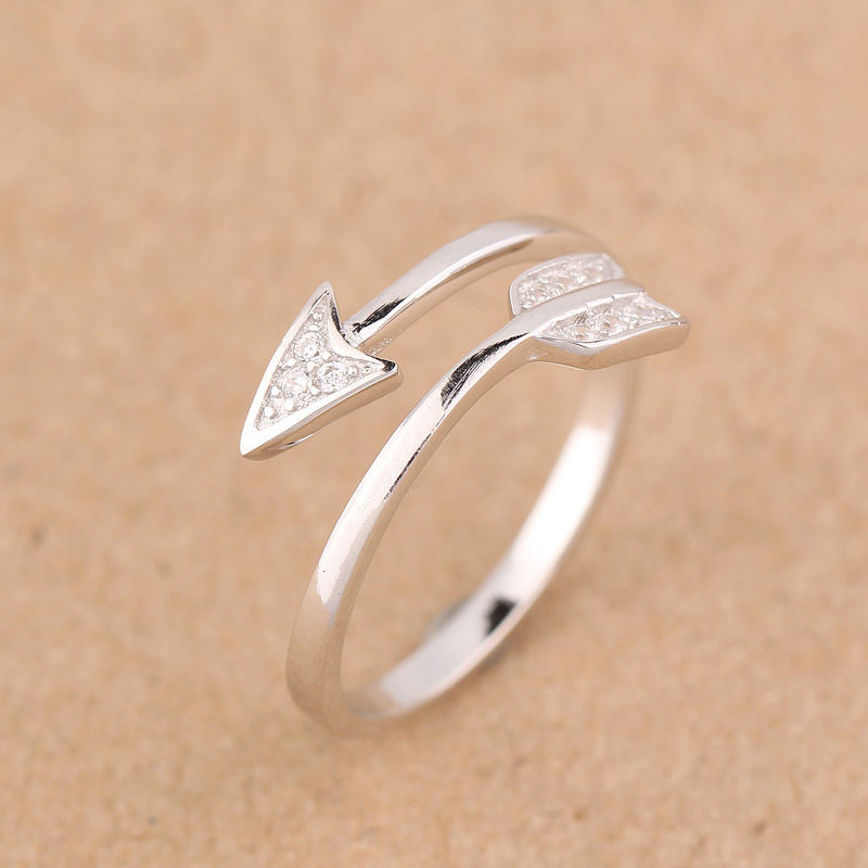 Real 925 Sterling Silver White jewelry CZ Paved Love Arrow Design ...