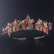 Snuoy Vintage Luxury Bridal Red Stone Zircon Crystal Tiaras Crowns Headdress Bride Wedding Hair Jewelry Accessories HG711