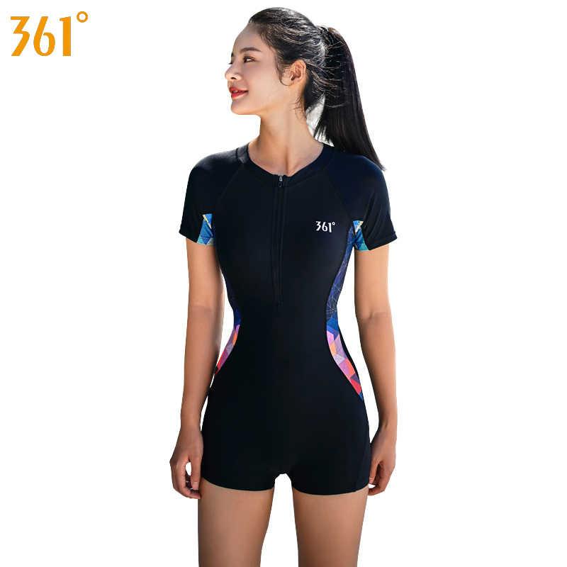 361 женский спортивный купальник для серфинга с подкладкой 2019, Цельный купальник для женщин и девушек, черный умеренный купальник для бассейна, купальные костюмы
