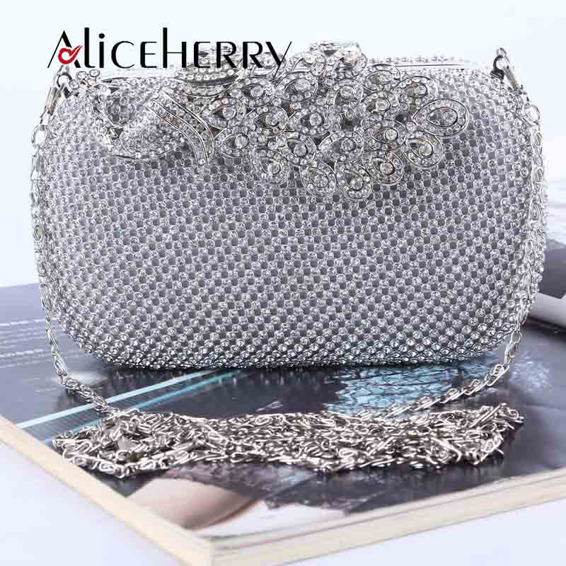 Glitter-Bag Clutches Peacock Handbag Chain-Shoulder-Bag Evening-Party Women Luxury Brand