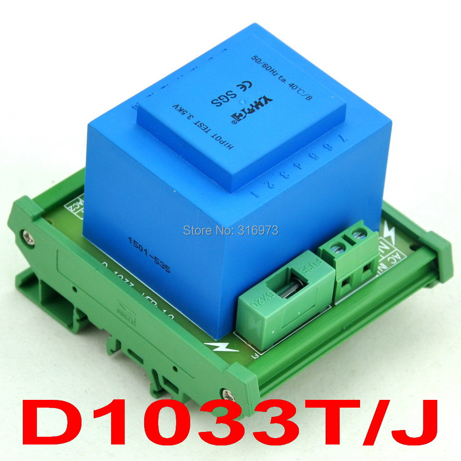 P 115VAC, S 2x 12VAC, 20VA DIN Rail Mount Power Transformer Module,D-1033T/J,12VP 115VAC, S 2x 12VAC, 20VA DIN Rail Mount Power Transformer Module,D-1033T/J,12V