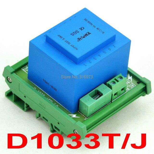 P 115VAC, S 2x 12VAC, 20VA DIN Rail Mount Power Transformer Module,D-1033T/J,12V