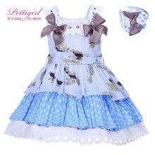Pettigirl Nouvelle D'été Bleu Points Imprimé Fille Robe Avec Bow Taille Haute Enfants Robe Boutique Enfants Porter Avec Bandeaux 001-1297