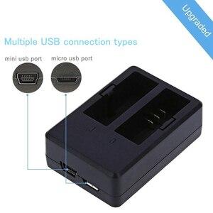 Image 2 - Nova bateria da câmera da ação 1350 mah e carregador de bateria duplo para sjcam sj4000 sj5000 eken h9r/h9 h8r/h8 m10 gitup dbpowe soocoo