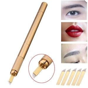 5pcs 12pin Blade Needles+Golden Tebori 3D Pen Microblading Tattoo Machine For Permanent Makeup Eyebrow Tattooing Manual Guns(China)