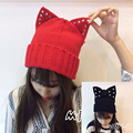 2017 New Women's Winter Wool Hats Beanie Caps Cat Ears Rivet Hats Gorros Casquette Bonnet Femme S6