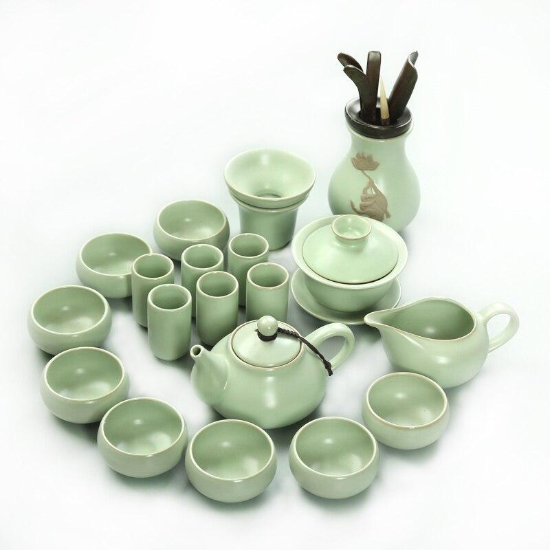 Ru four Kung Fu thé ensemble théière thé bol tasse ensemble glace glaçure vert thé cérémonie simple maison thé cadeau