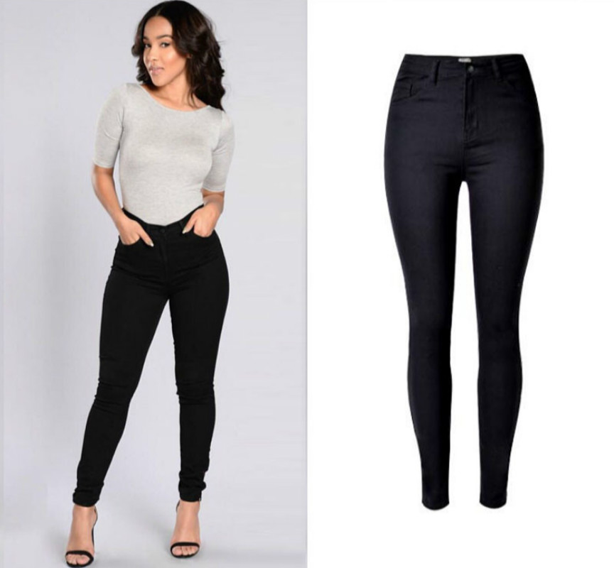 2017 High Waist Black Jeans Women Cotton font b Sexy b font Push Up Skinny Jeans