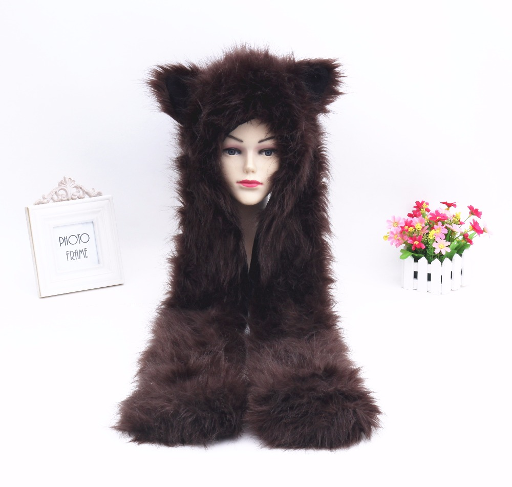 New Fashion Man &Women Imitation Fur Hat Winter Plush Cartoon Animal Hat Scarf Glove One Cap