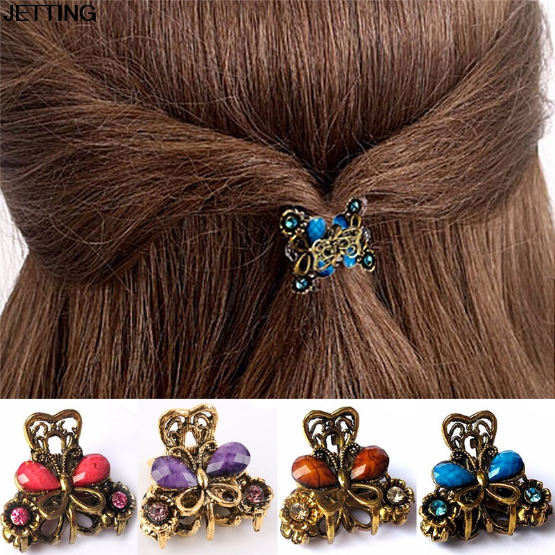 hair claw Fashion Women hair accessories hairpins Crab Retro Mini Butterfly Hair clip Headband for Lady Girls women headwear 2017 retro hair claw cute hair clip for girls show room vitnage hair accessories for women