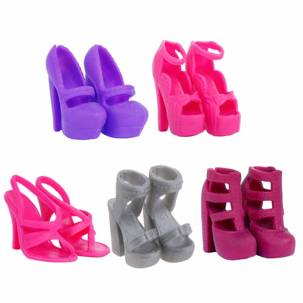 5 Pairs High Quality Shoes Mixed Style Cute Mini Boots High Heels Shoes Sandal Clothes For Barbie Doll Accessories Kids Gift Toy