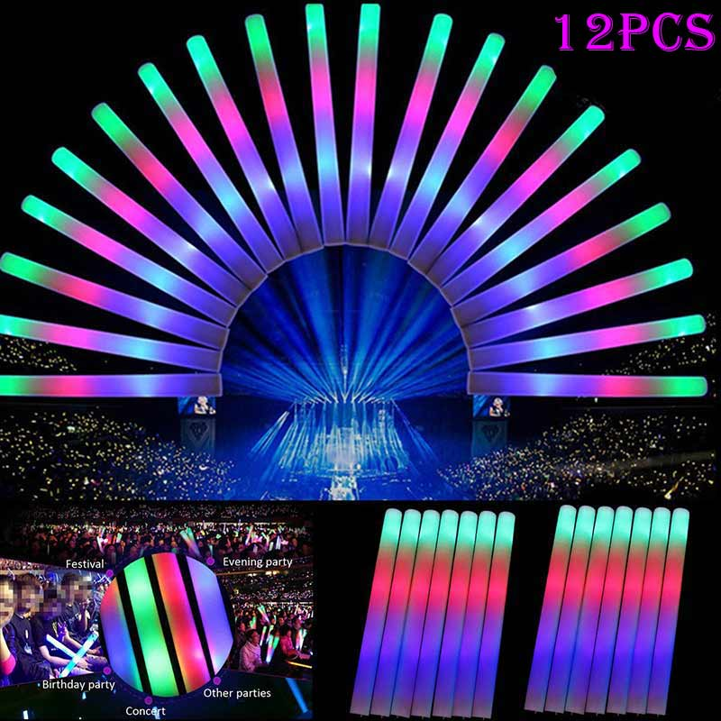 1/4/12pcs Light Up LED Foam Stick Wands Rally Rave Cheer Batons Party Flashing Glow Stick S7JN