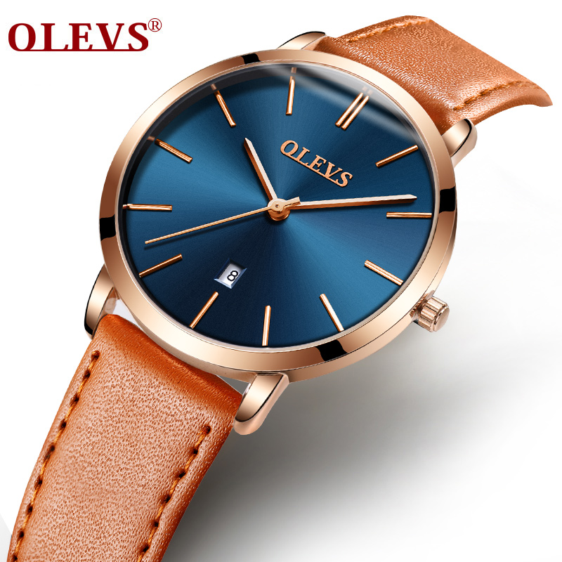 Olevs High Quality Fashion Leather Strap Lady Dress Watch Casual Simple Quartz Wristwatch Clock Women Watches 7 Colors S L5869P