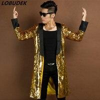 Maglietta a Trench oro Giacca A Vento verde Prom maschio cantante Hip Hop Costumi Bar Discoteca Roccia abbigliamento performance di Danza stelle