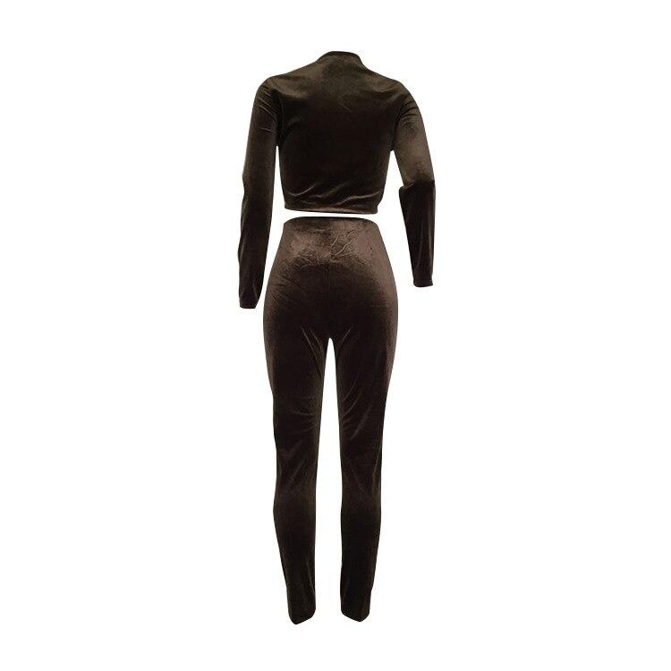 IMYSEN Spring Autumn Casual Women Tracksuit Velvet Solid O Neck Long Sleeve Jacket Top Pants Suit 2PCS Sets